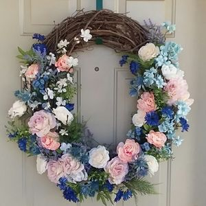 Handcrafted Spring Floral Wreath by Wreathy Wonder